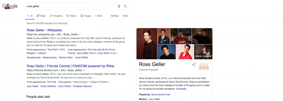 Google's SERP for Ross Geller