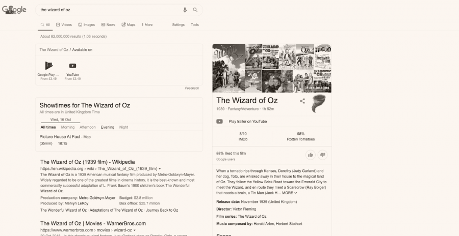 Google's black and white SERP for Wizard of Oz