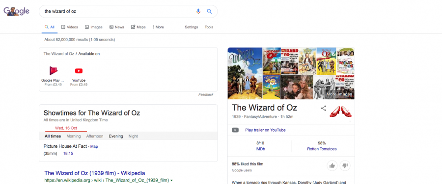 Google's SERP for Wizard of Oz